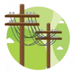 skip hire electric pole